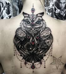 сова в стиле нео традишнл тату на спине сделать тату у мастера