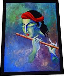buy lord krishna hand painted art  krishna modern art  bonghaatcom