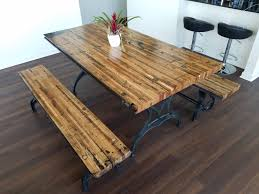 Rustic kitchen table with bench Western Style Reclaimed Oak Boxcar Plank Table With Benches Recycled Vintage Antique Rustic Chris Knight Creations Reclaimed Oak Boxcar Plank Table With Benches Recycled Vintage