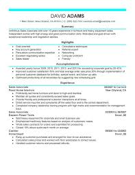 Sales Associate Resume Sample With Summary And List Of Highlights