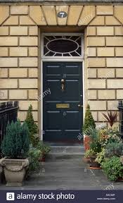black door entrance to a georgian house on great pulteney street bath spa somerset