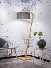 Goodmojo Andes Bamboo Floor Lamp In Bamboo Dark Grey Eco Linen