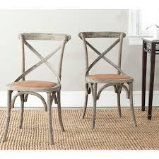 safavieh franklin distressed colonial walnut x back dining chair set of 2