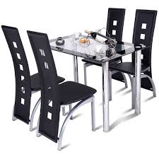 Costway Costway 5 Piece Dining Set Glass Table And 4 Chairs Home