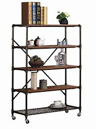 amazoncom furniture 62quot industrial wood. Amazon Com O K Furniture 5 Shelf Industrial Bookshelf With Wheels Within Bookcase On Inspirations Amazoncom 62quot Wood T