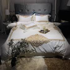 1000tc egyptian cotton golden embroidery bedding set queen king size bed set grey blue bedlinen sheet duvet quilt cover set polka dot bedding modern bedding