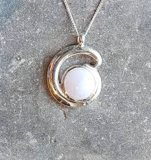 blue lace agate silver loop pendant