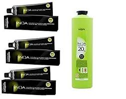 Loreal Inoa 3 Tubes No Ammonia Hair Colour Brown And 1 Developer 1000 Ml