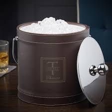 7393 oakhill brown leatherette ice bucket jpg