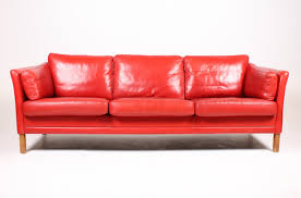 vintage danish three seater red leather sofa from mogens hansen 1980s 1