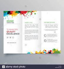Tri Fold Brochure Online Design Colorful Ink Splatter Trifold Brochure Design Stock Vector