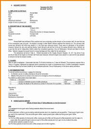Sample Accident Report Form Child Care With Incident