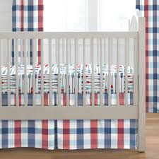 navy and red buffalo check 2 piece crib bedding set