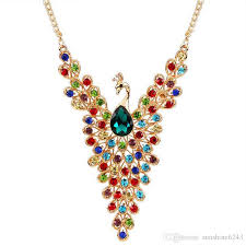 2019 2017 new luxury gold color peacock design multicolor created diamond necklace for wedding women whole from sunshine6243 8 85 dhgate com