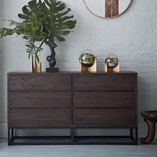 logan industrial 6 drawer dresser smoked brown