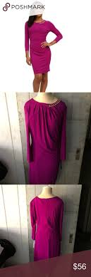 Tahari Arthur S Levine Size Chart Purple 3 4 Sleeve Tahari Dress Oriole Stretchy Dress With