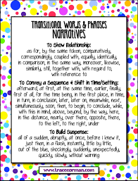 mrs orman s classroom common core tips using transitional words  transitions for narratives anchor chart com