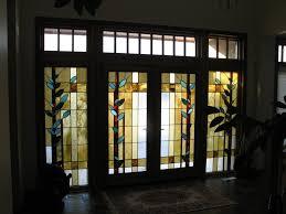 Double Wooden Door With Stained Glass Exterior Doors Ideas - Bifold exterior glass doors