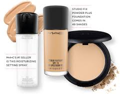 studio fix fluid and light powder foundation are smeared and crumbled next to the mac moisturizing