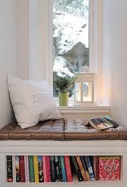window seat bookshelf reading nook