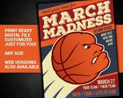 March Madness Flyer Custom March Madness Basketball Bracket With Your Logo Chart Etsy