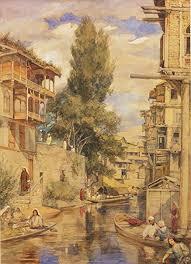 ocher art mar c at srinagar kashmir landscape indian vine painting