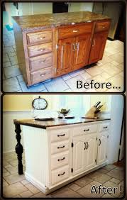 DIY kitchen island renovation I love the white cabinets with the
