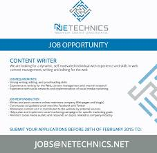 content writer job vacancy in sri lanka strong writing editing and proofreading skills experience in writing for the web content management and internet research experience social networks