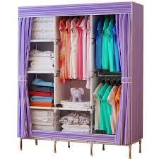 portable closet storage organizer wardrobe clothes rack steel shelves stripe