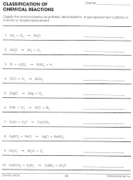 worksheet word equations chemistry a study of matter answer key