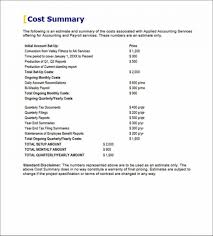 Cost Proposal Templates Accounting Payroll Services Proposal Cost Summary Example Accounting 39