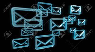 Digital Blue Floating Emails On Black Background 3d Rendering