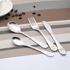 <b>4pcs set Baby Teaspoon Spoon</b> Feeding Fork Knife Utensils Set ...