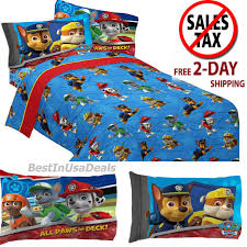 toddler twin size bed sheets boys paw patrol rescue with pillowcase bedding set