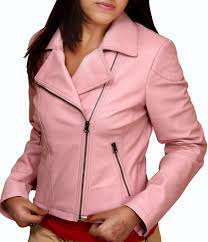 home women biker pink real leather jacket