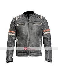 classic biker distressed retro black jacket distressed leather