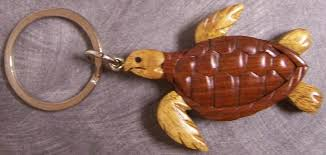 details about intarsia solid wood key ring animal sea turtle new