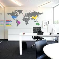 office wall decorating ideas. Modern Office Wall Art Decor Ideas Work Space World Map Decal . Decorating
