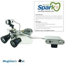 spark 23x magnification customized dental ttlthrough the lens loupes with silver bp sports frame and mounted led head light arco lighting
