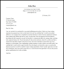 A Sample Cover Letter Professional Staff Pharmacist Cover Letter Sample Writing Guide
