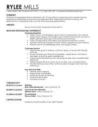 housekeeping housekeeper room attendant resume sample detailed summary  relevant professional experience templates jobs