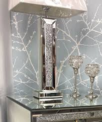 sparkly silver mirror diamond glitz crushed glass crystal 13 table lamp