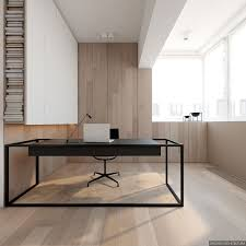 minimalist office. these two minimalist homes use bold black accents against a backdrop of light wood panels office s