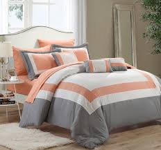 bedding set includes peach seafoam green comforter two pillow shams bedskirt