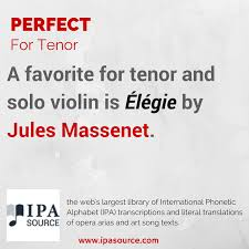 Each alphabet song download includes a free video song, free fun curriculum learning activities with the main focus on literacy and free pdf song lyrics. Ipa Source On Twitter A Favorite For Tenor And Solo Violin Is Elegie By Jules Massenet Https T Co Q9ooh9kmsj