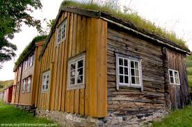 In the old days, it was common for Norwegian houses to grow grass on the  roof. Cottage roofs were made out of tree bark and to keep it from curling  up the ...