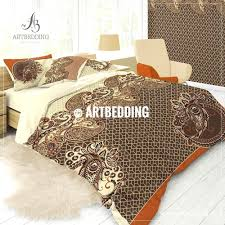 at art deco bedding vintage bohemian paisley boho orange brown duvet cover set