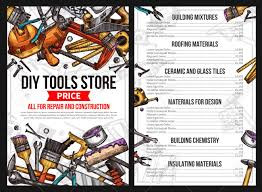 diy work tools list for house repair or handyman construction service vector sketch