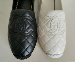 Details About Chanel Biarritz Oversized Cc Logo Quilted White Black Espadrilles I Love Shoes