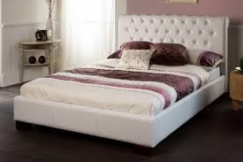 limelight aries white faux leather double bed frame – dublin beds